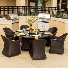 Providence 6-Person Resin Wicker Patio Dining Set With Lazy Susan
