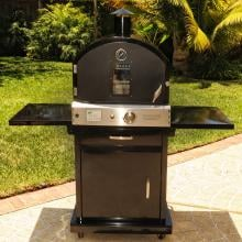 Pacific Living PL8BLK Natural Gas Black Outdoor Pizza Oven On Cart (Ships As Propane With Natural Gas Fittings) Pacific Living PL8BLK Natural Gas Black Powder Coated Outdoor Pizza Oven On Cart