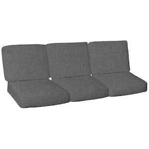 Sunbrella Cast Slate 6 Piece Small Outdoor Replacement Sofa Cushion Set W/ Piping By BBQGuys image