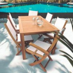 Sailmate 7 Piece Teak Patio Dining Set W/ 63 X 35 Inch Rectangular Table By Royal Teak Collection - White Sling image