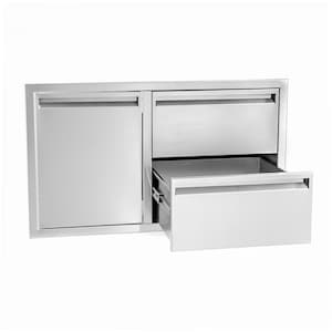 BBQGuys Aspen Series 36-Inch Stainless Steel Left-Hinged Access Door & Double Drawer Combo image