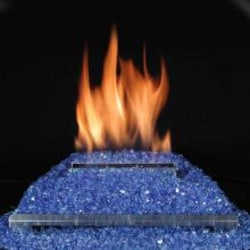 Rasmussen 20-Inch Cobalt Blue ALTERNA FireGlitter Set With Vent Free Propane Stainless Steel Chassis Burner - Remote Ready Safety Pilot image
