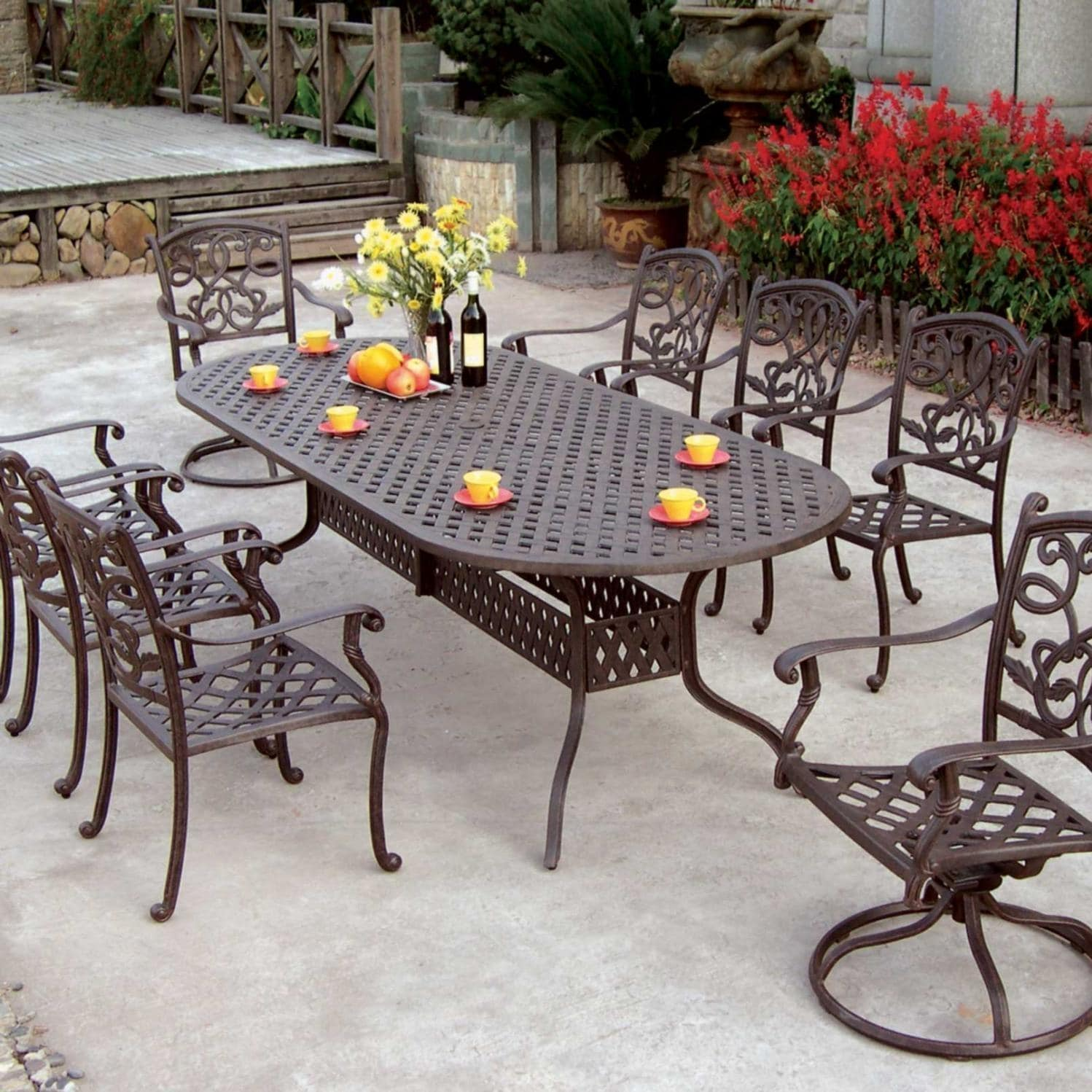 Piece Cast Aluminum Patio Dining Set With Oval Table Ultimate Patio