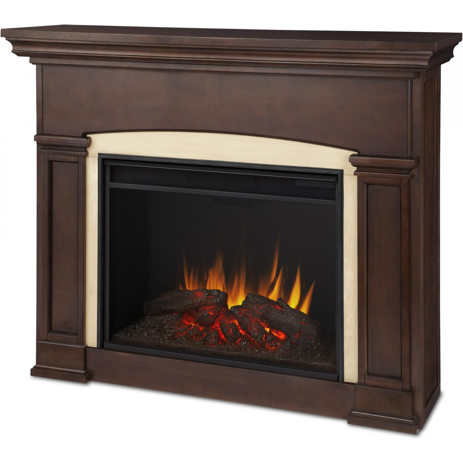 Real flame holbrook grand 58 inch electric fireplace with for Dark fireplace mantel