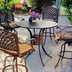 Darlee Nassau 5 Piece Cast Aluminum Patio Bar Set With Swivel Bar Stools image