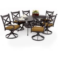 Avondale 7 Piece Aluminum Patio Dining Set With Swivel Rockers And Oval Table By Lakeview Outdoor Designs - Canvas Teak