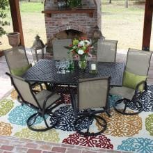 Madison Bay 7 Piece Sling Patio Dining Set With Swivel Rockers And Rectangular Table By Lakeview Outdoor Designs Madison Bay 7-Piece Sling Patio Dining Set With Cast Aluminum Table