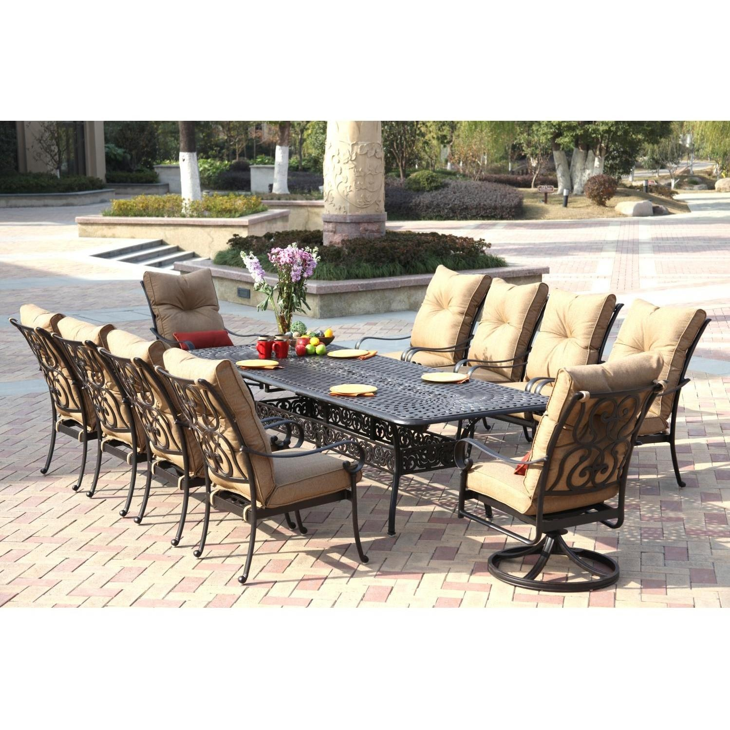 Santa Anita 11 Piece Cast Aluminum Patio Dining Set W 92 X 42 Inch Rectangular Extension Table By Darlee Ultimate