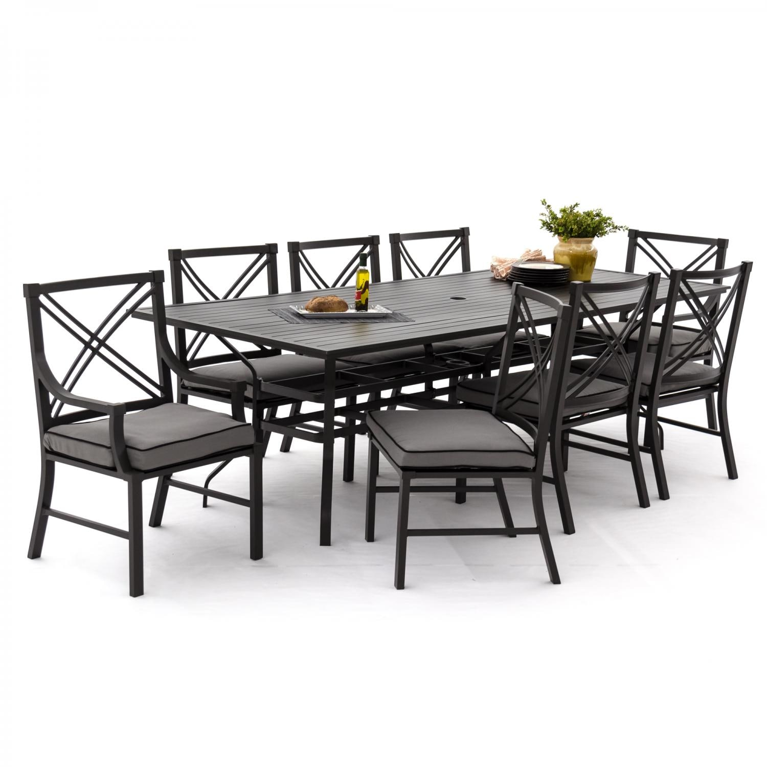 Audubon 9 Piece Aluminum Patio Dining Set With 6 Side Chairs And  Rectangular Table   Canvas Charcoal Angled View