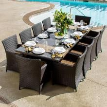 Avery Island 10-Person Resin Wicker Patio Dining Set With Extension Table