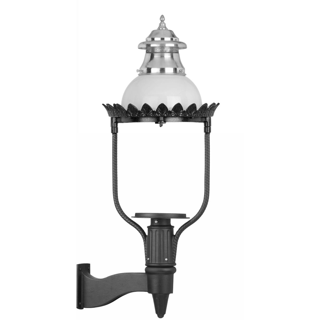 American Gas Lamp Works GL48 Cast Aluminum Manual Ignition Natural Gas Light With Open Flame Burner And Standard Wall Mount