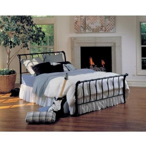 Hillsdale Janis Black Metal Sleigh Bed With Frame - Queen - 1655BQR