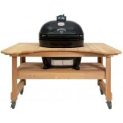 Primo Jack Daniels Edition Oval XL Ceramic Kamado Grill On Curved Cypress Table image