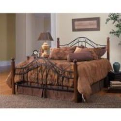 Hillsdale Madison Textured Black And Cherry Metal And Wood Post Bed Set Without Frame - King - 1010BK image