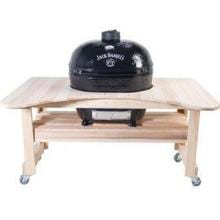 Primo Jack Daniels Edition Ceramic Smoker Grill On Compact Cypress Table - Oval XL