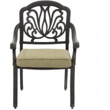 Rosedown Cast Aluminum Patio Dining Chair By Lakeview Outdoor Designs - Linen Sesame Rosedown Cast Aluminum Patio Dining Chair - Front View