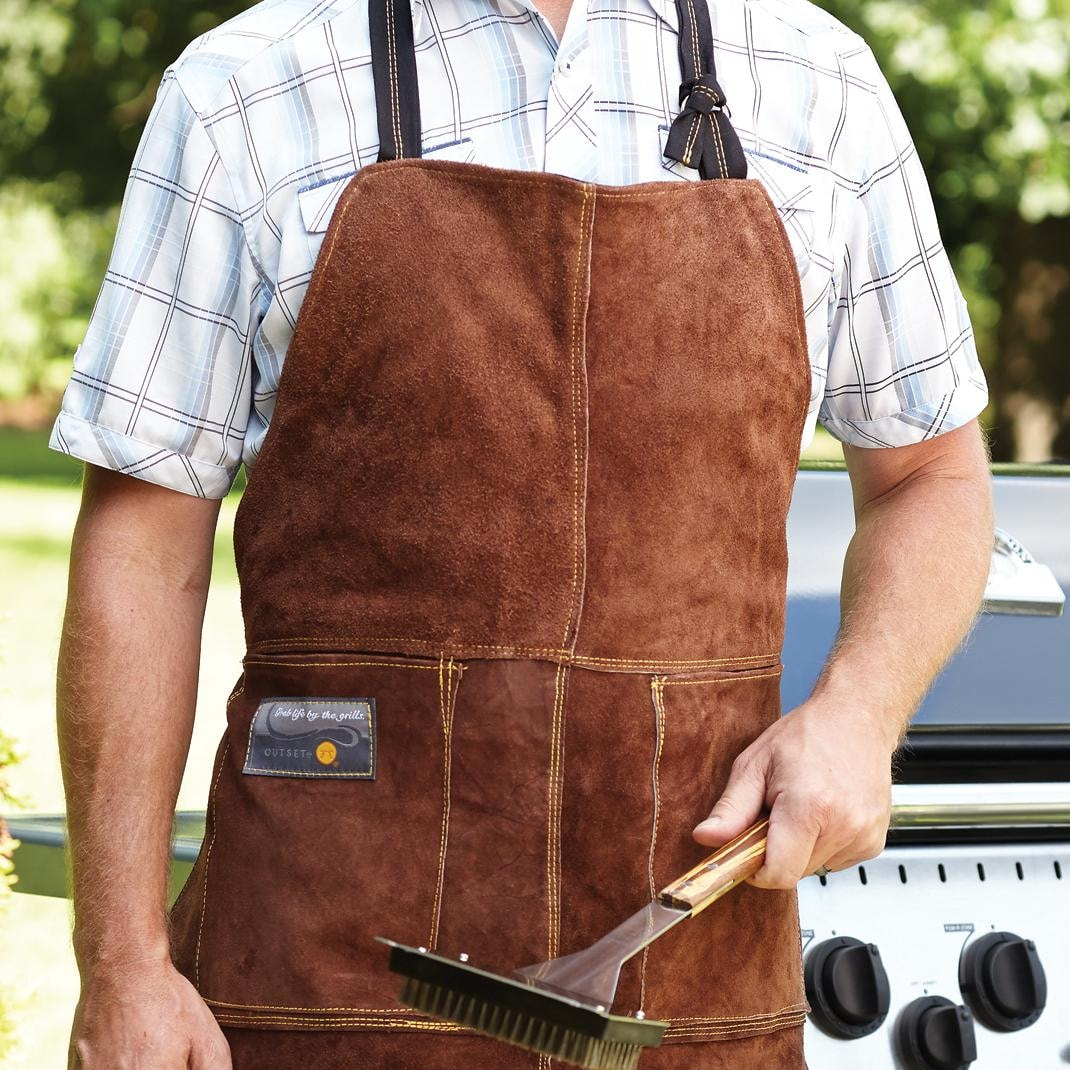 Leather Bbq Apron Brown Bbqguys