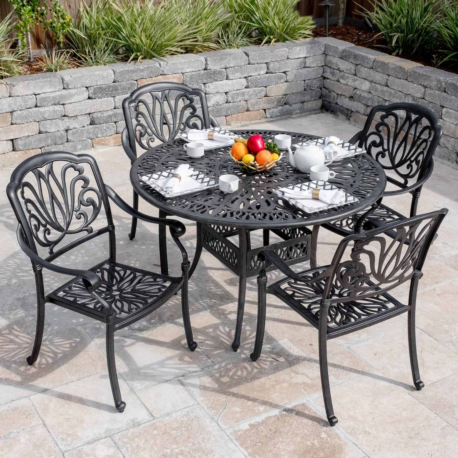 Outdoor Dining Set Round Table.Roxbury 5 Piece Cast Aluminum Patio Dining Set W 48 Inch Round Table By Darlee