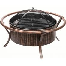 Alpine Flame 37-Inch Copper And Black Wood Burning Fire Pit With Weave Design