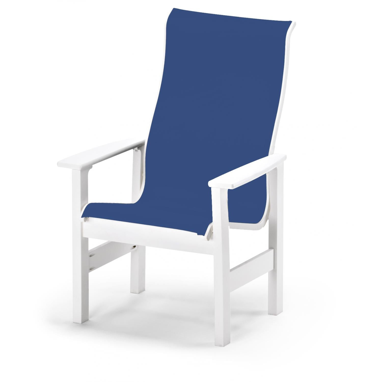 Ordinaire Leeward Supreme MGP Patio Dining Arm Chair With Sling Seating By Telescope  Casual   Textured Snow/Cobalt