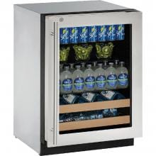 U-Line 2000 Series 24-Inch 4.9 Cu. Ft. Right Hinge Beverage Center With Lock - Stainless Steel - U-2224BEVS-13B image