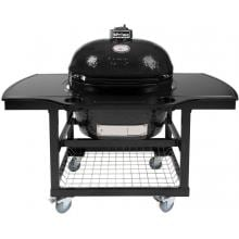 Primo Oval XL Ceramic Kamado Grill On Steel Cart With 1-Piece Island Side Shelves & Cup Holders