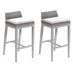 Argento 2 Piece Wicker Patio Bar Stool Set W/ Eggshell White Cushions By Oxford Garden image