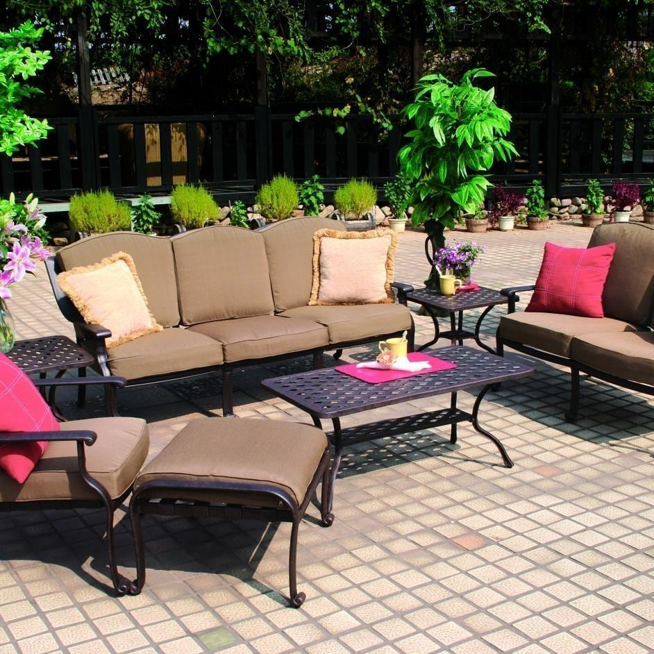 Darlee Ten Star 7 Piece Cast Aluminum Patio Conversation Seating Set With Cof
