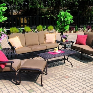 Darlee Ten Star 7 Piece Cast Aluminum Patio Conversation Seating Set With Coffee Table & 2 End Tables image