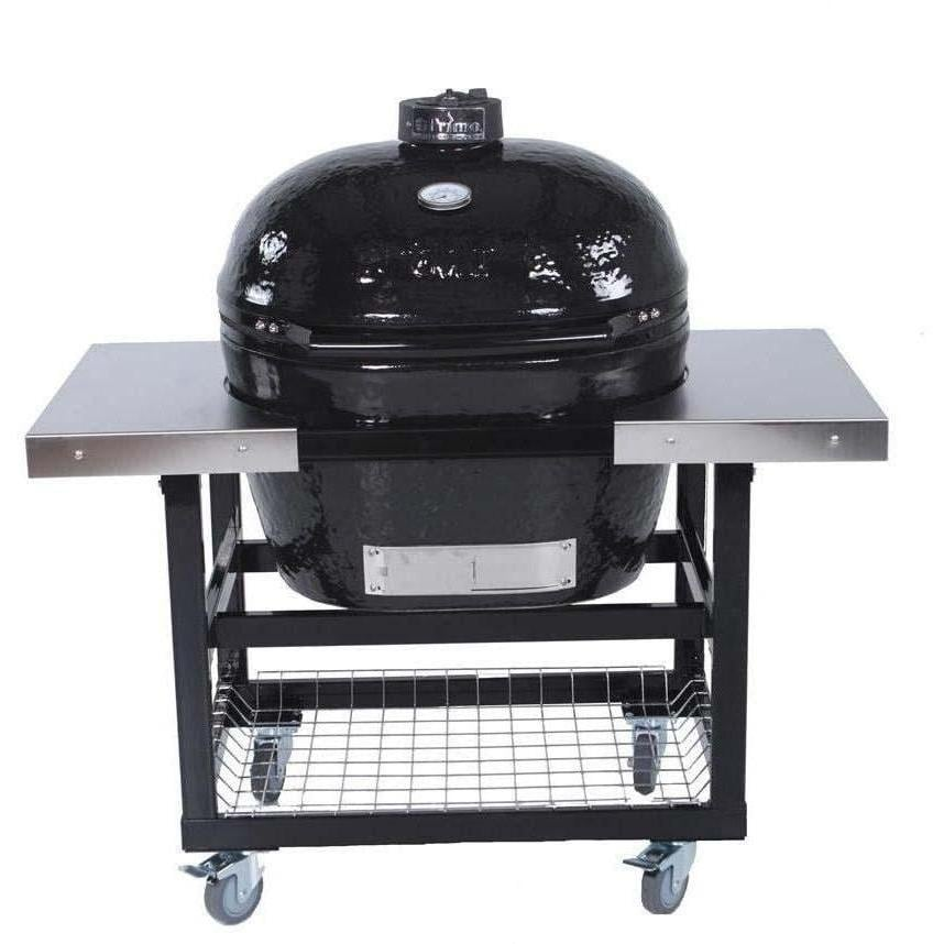 primo ceramic charcoal smoker grill on steel cart with stainless side tables oval xl bbq guys. Black Bedroom Furniture Sets. Home Design Ideas