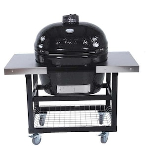 Primo Oval Junior 200 Ceramic Kamado Grill On Steel Cart With Side Tables - 774 image