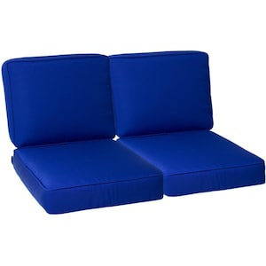 Sunbrella Canvas True Blue 4 Piece Medium Outdoor Replacement Loveseat Cushion Set W/ Piping By BBQGuys image