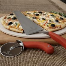 3-Piece Ceramic Pizza Stone & Serving Set  Ceramic Pizza Stone & Serving Set