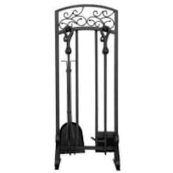 UniFlame 5-Piece Black Wrought Iron Fireplace Tool Set With Crook Handles - F-1322 image