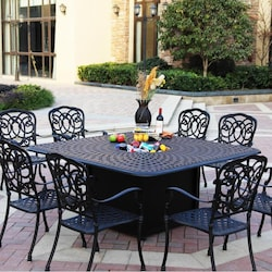 Darlee Florence 9 Piece Cast Aluminum Patio Fire Pit Dining Set Table With Ice