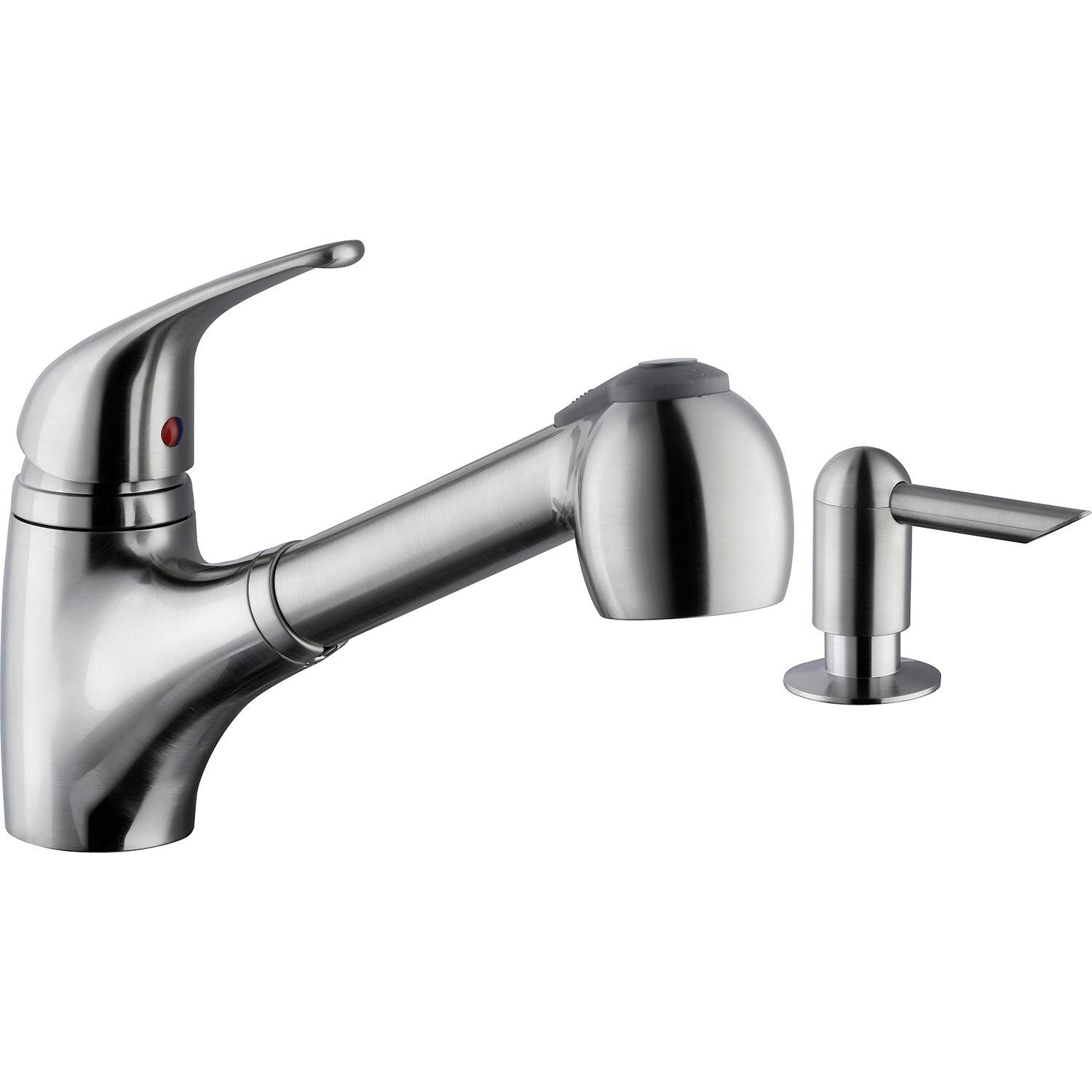 Kitchen Faucet With Built In Sprayer Platinum Sinks Single Top Handle Pull Out Hot Cold Faucet