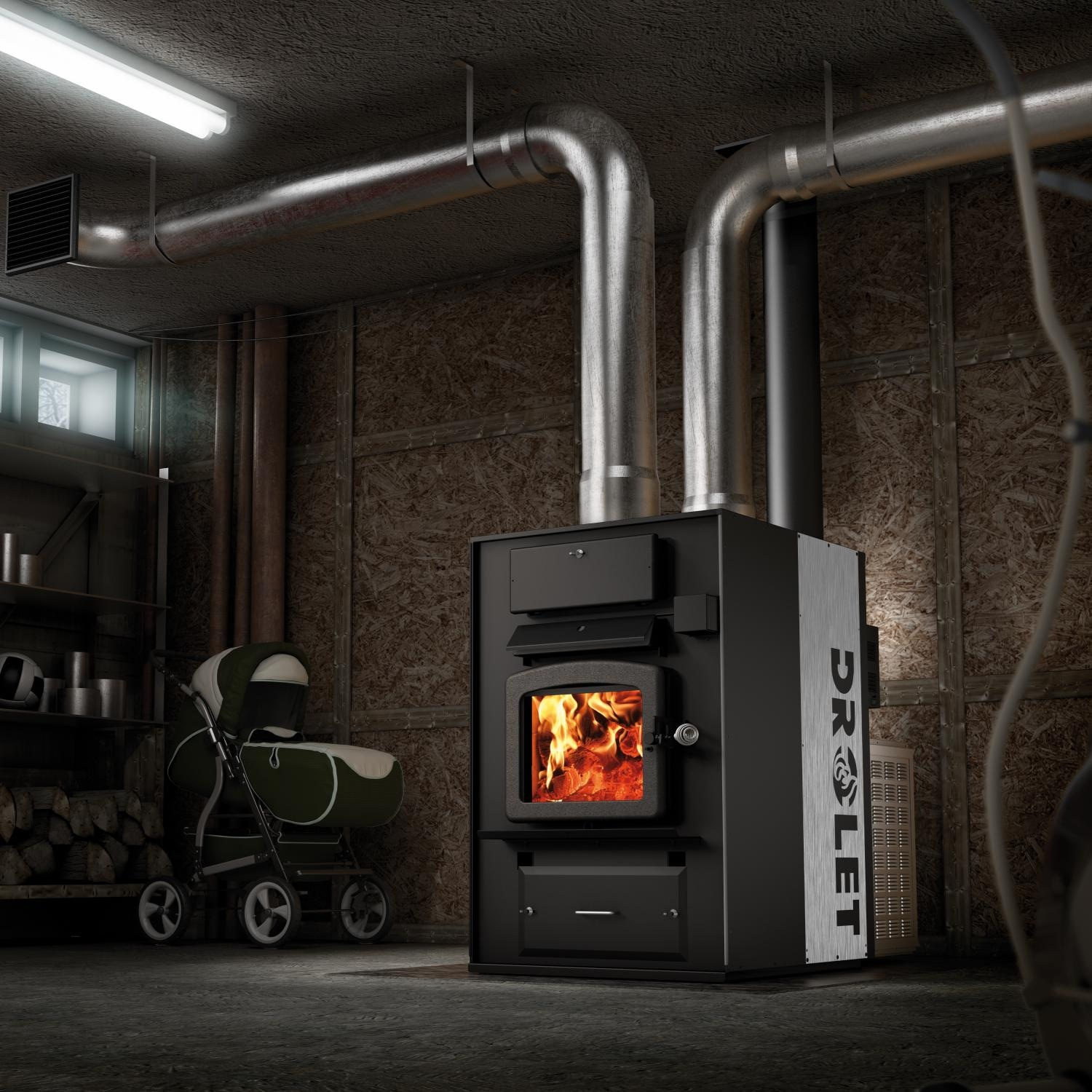 drolet heatmax 2400 sq ft epa rated high tech wood furnace gas