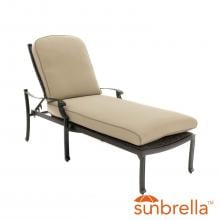 Carondelet Wicker Patio Chaise Lounge W/ Sunbrella Spectrum Sand Cushion By Lakeview Outdoor Designs image