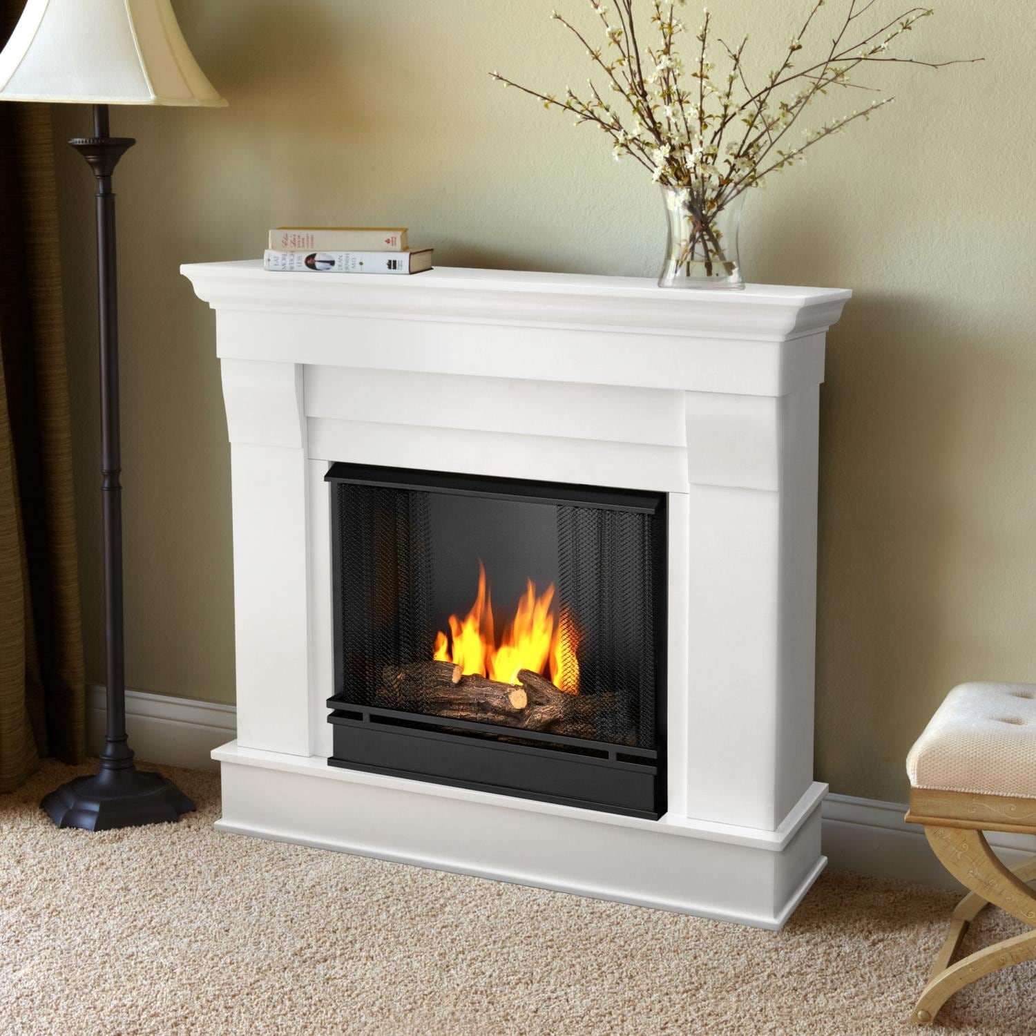 real flame chateau 40inch gel fireplace with mantel white 5910w