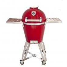 Caliber Pro Kamado Grill On Stainless Steel Cart With Wood Inserts - Red Caliber Pro Kamado Grill On Stainless Steel Cart With Wood Inserts - Red