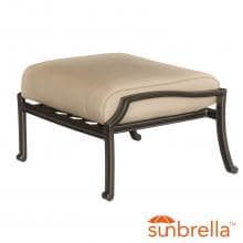 Carondelet Cast Aluminum Patio Ottoman W/ Sunbrella Spectrum Sand Cushion By Lakeview Outdoor Designs image