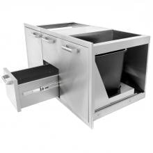 BBQGuys.com Sonoma Series 42-Inch Stainless Steel Door, Double Drawer & Roll-Out Trash Bin Combo BBQGuys.com Sonoma Series 42-Inch Stainless Steel Door & Drawer Combo - Bottom Center Drawer Extended