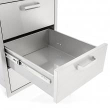BBQGuys.com Sonoma Series 20-Inch Stainless Steel Double Access Drawer With Paper Towel Dispenser BBQGuys.com Sonoma Series 20-Inch Double Access Drawer - Drawer Open