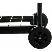 Meco Electric Grill On Cart With Fold Down Side Tables - 9325 Rubber Wheels and Wire Bottom Rack