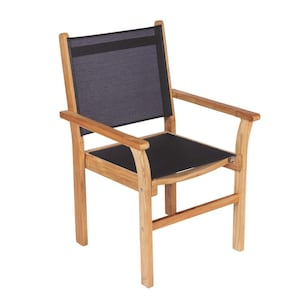 Captiva Stacking Teak Patio Dining Arm Chair W/ Black Sling By Royal Teak Collection image