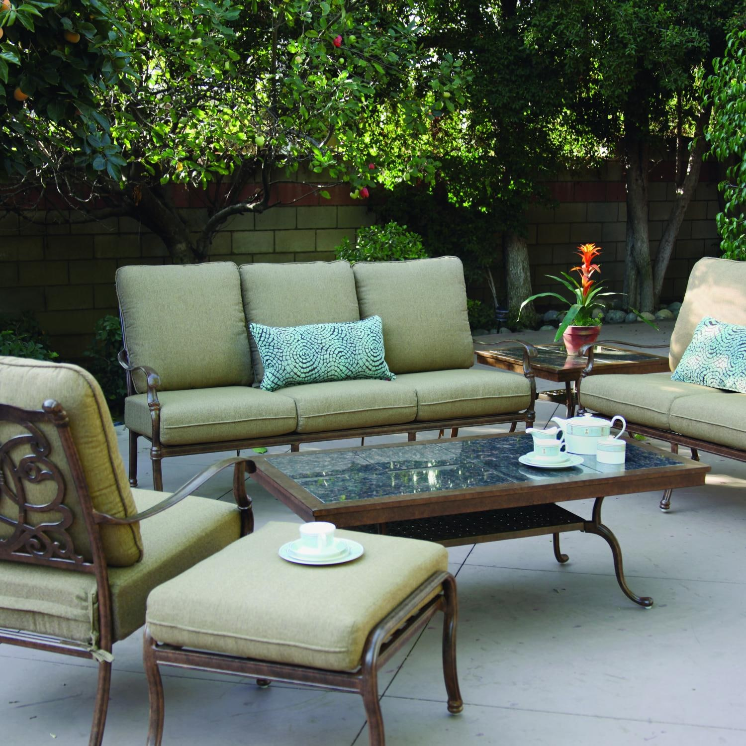 Darlee Florence 6 Piece Cast Aluminum Patio Conversation Seating Set With Gra