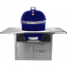 Grill Dome Infinity Series XL Kamado Grill On Stainless Steel Cart - Blue Grill Dome Infinity Series XL Kamado Grill On Stainless Steel Cart - Blue