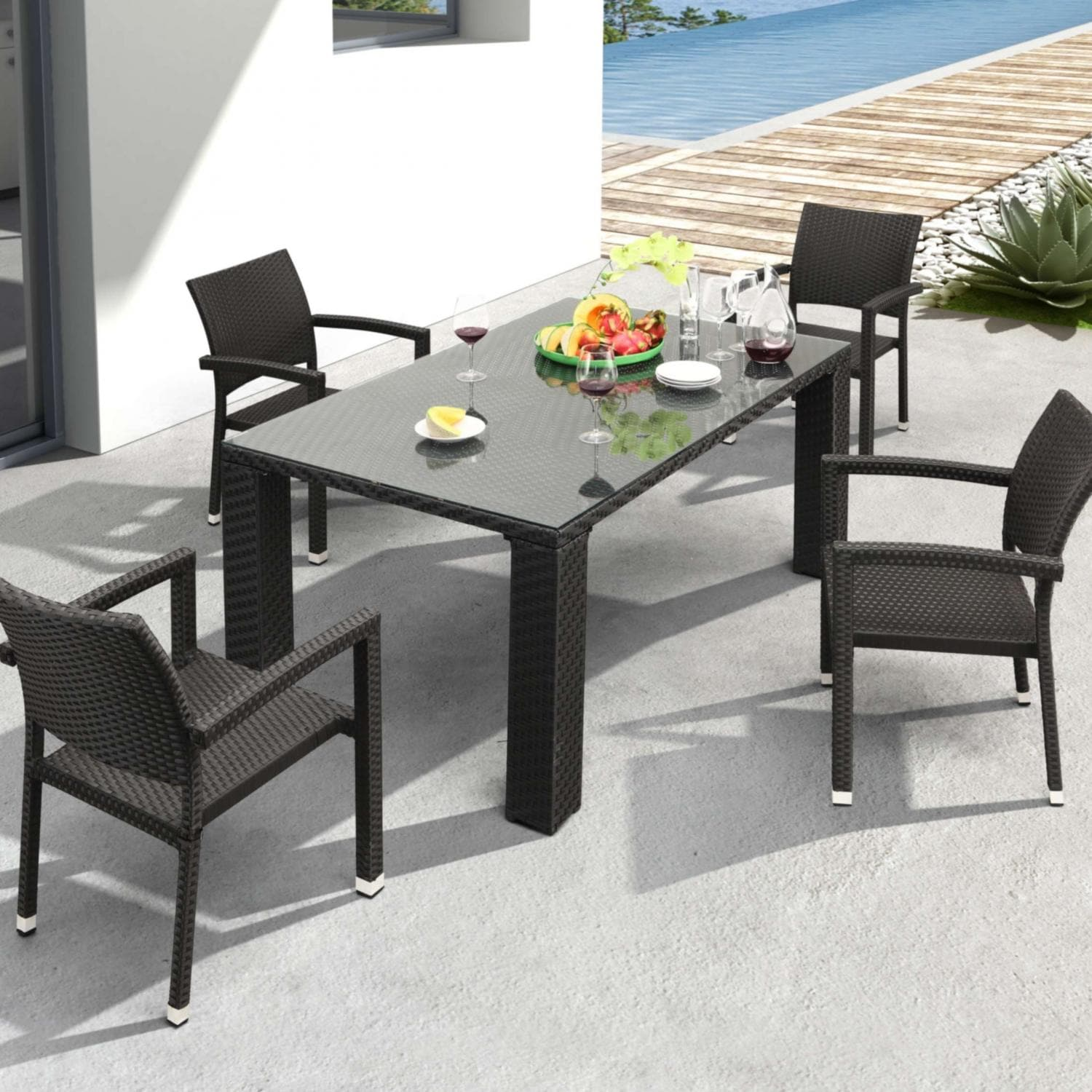 Captivating Zuo Modern Boracay Patio Dining Set With Glass Top Table   Seats 4 :  Ultimate Patio