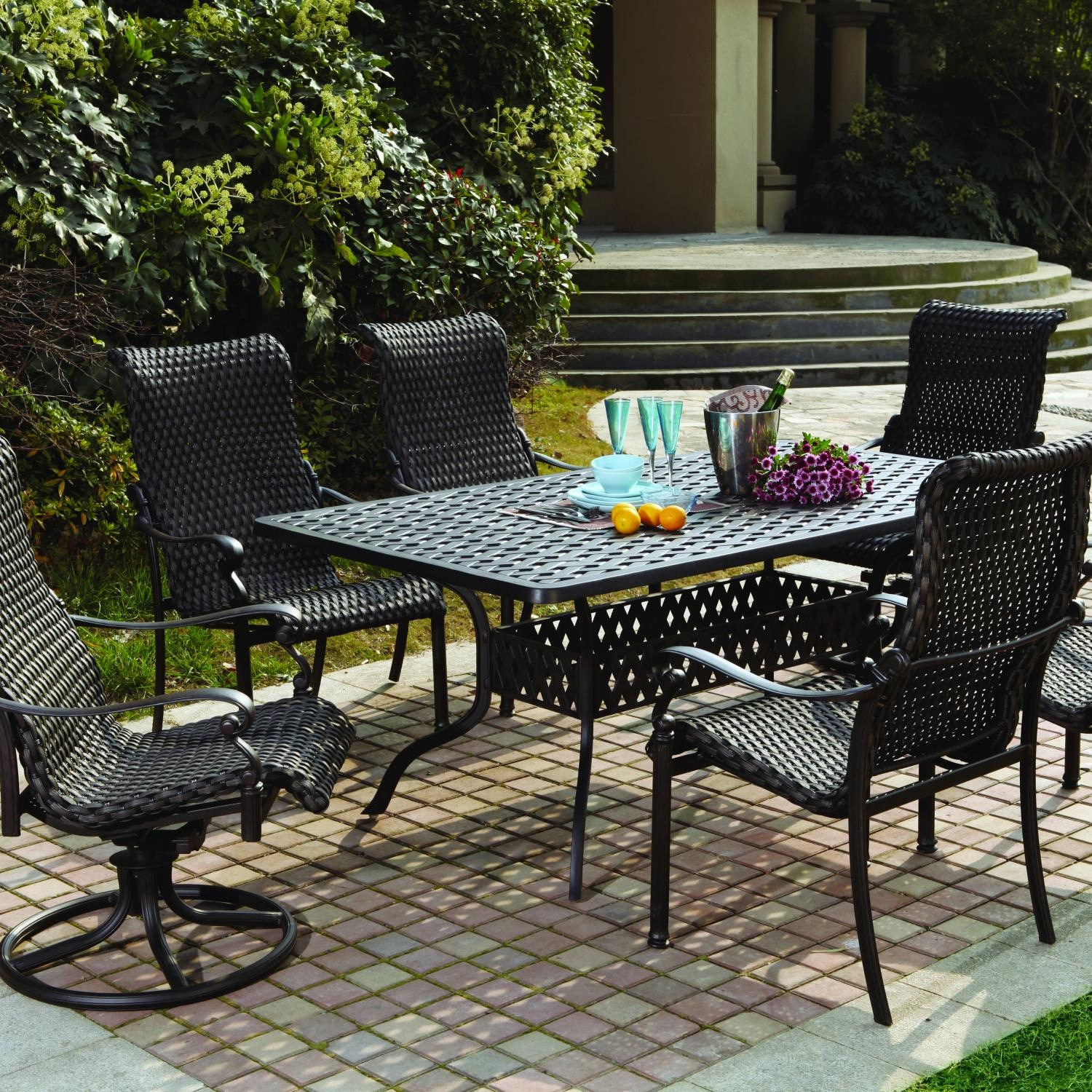 Darlee victoria 7 piece resin wicker patio dining set for Outdoor dining sets for 10