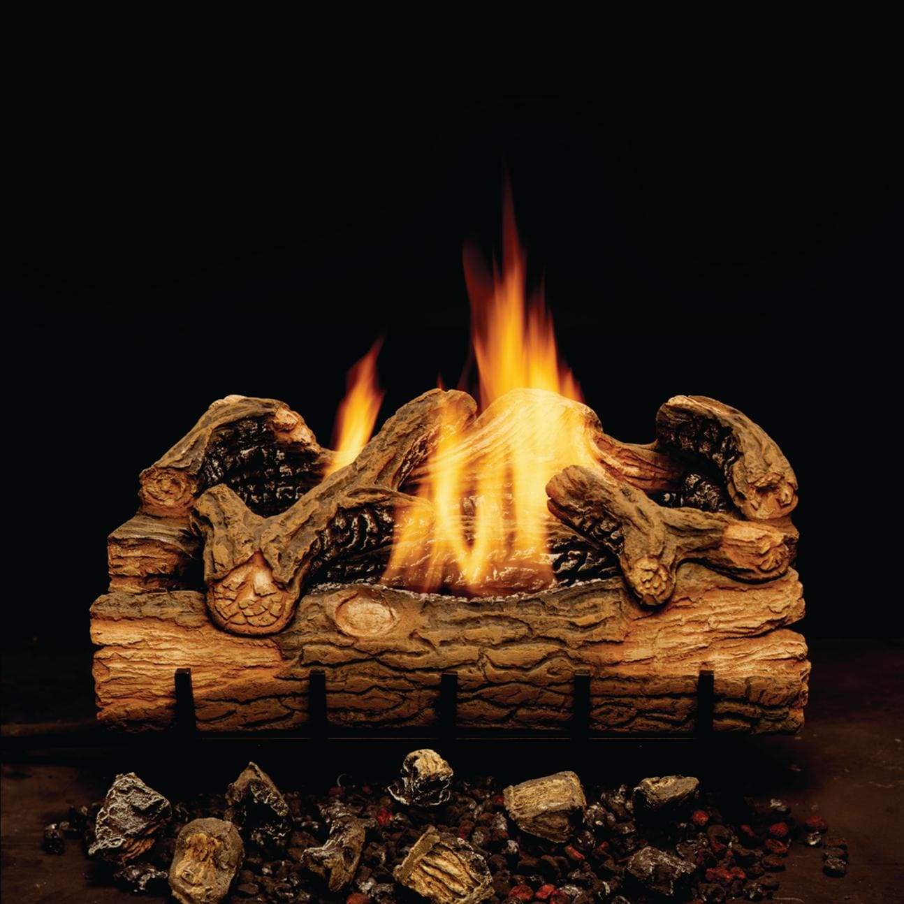 Monessen Charred Hickory 24-Inch Vent Free Gas Log Set W/ Propane Gas Double Yellow Flame Burner - Manual Safety Pilot